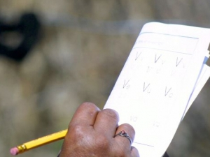 A woman writing on her notebook