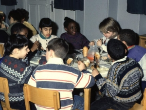 Children having a meal together