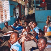 African kids in a classroom