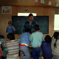 Class in a primary school, Island of Los Huros, 1992